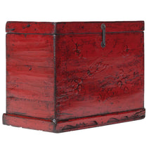 Red Lacquer Chinese Storage Trunk