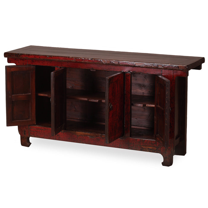 Red Lacquer Four Door Sideboard
