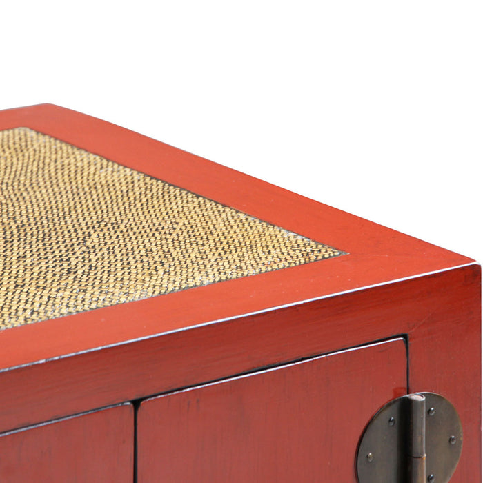Jiang Red Lacquer Media Cabinet