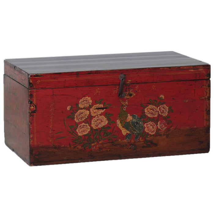 Red Lacquer Painted Blanket Box