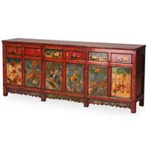 Red Lacquer Painted Large Sideboard