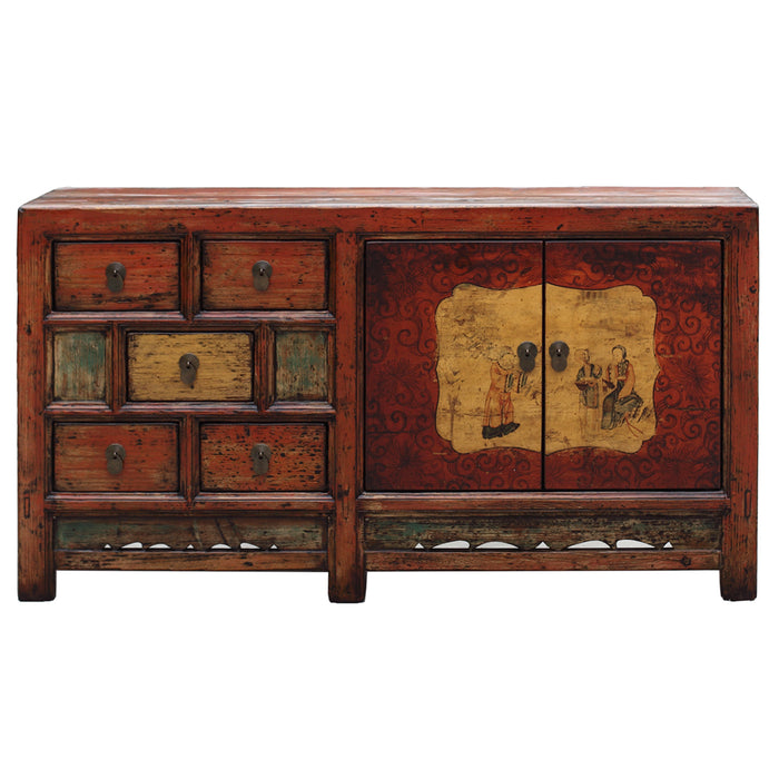 Distressed Red Two Door Five Drawer Cabinet