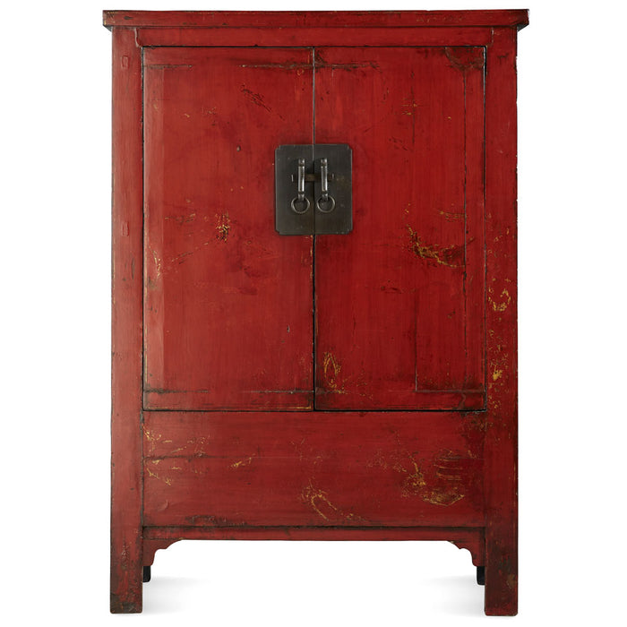 Antique Red Lacquer Wedding Cabinet