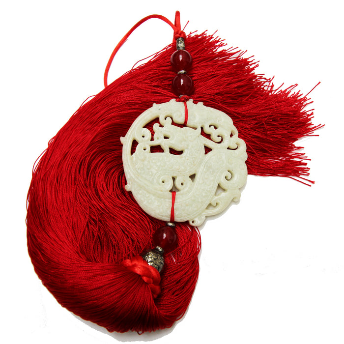 Red Silk and Stone Tassel, Dragon