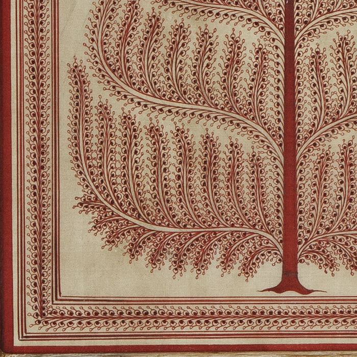 Tassar Patta Painting, Red Tree