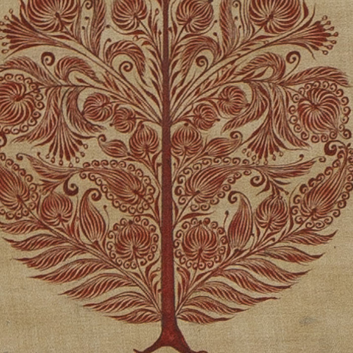 Silk Painting, Red Tree with Border
