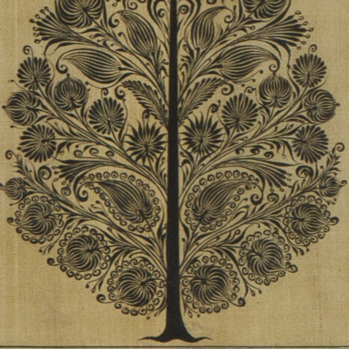 Silk Painting, Black Tree with Border
