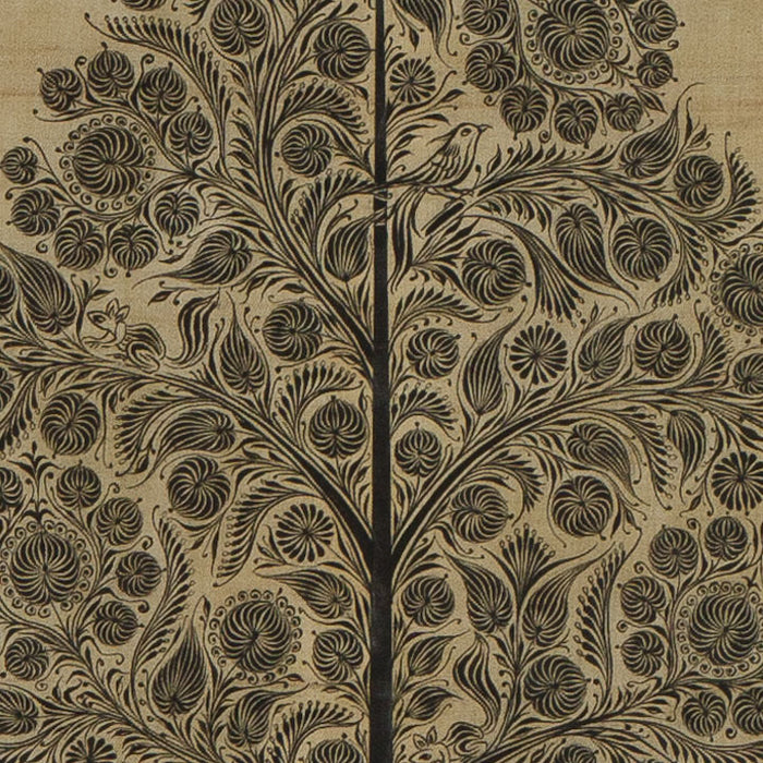 Indian Silk Painting, Black Tree of Life