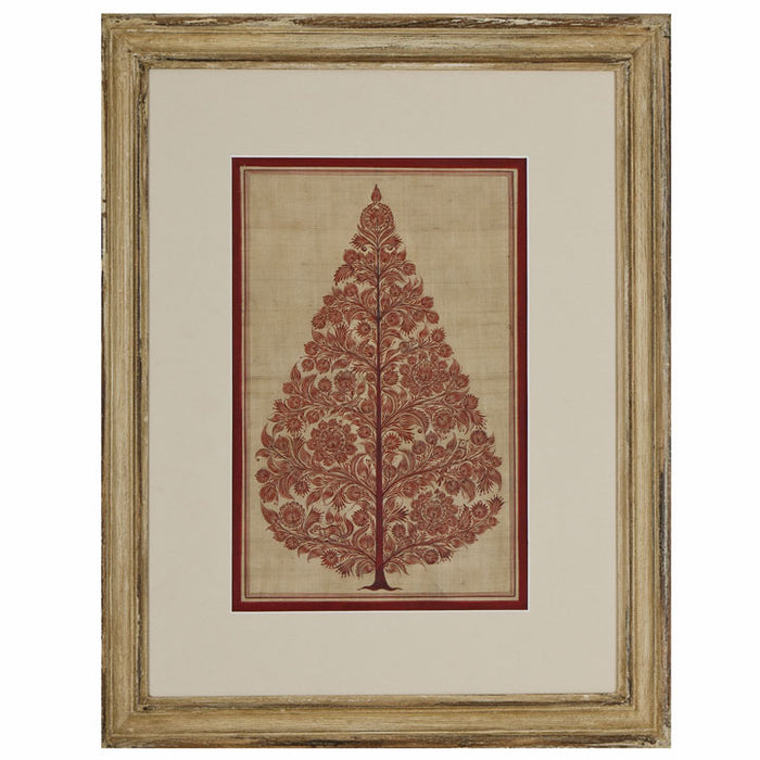 Indian Silk Painting, Red Tree of Life