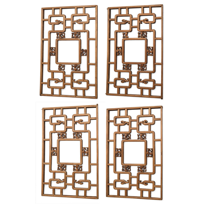 Set of Four Chinese Antique Carved Lattice Wall Panels