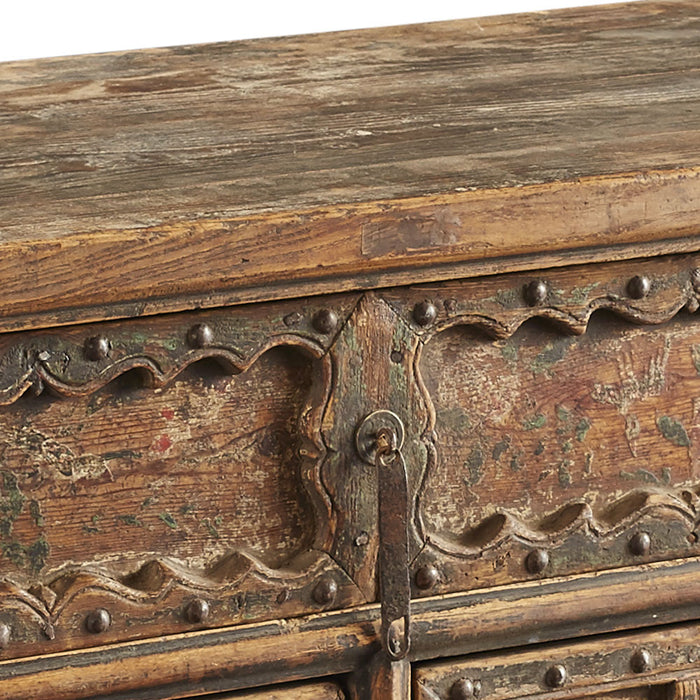 Chinese Antique Three Drawer Carved Coffer Table