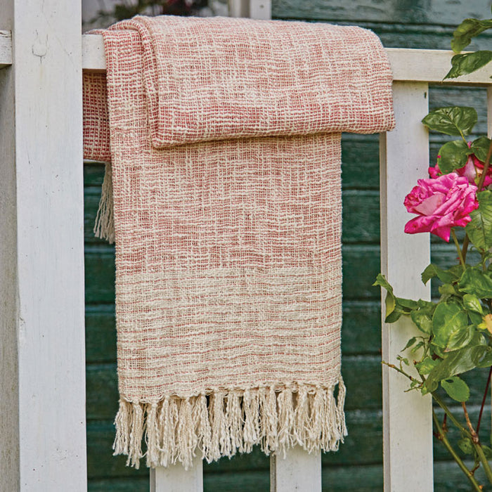 Shaded Handloom Throw, Rose