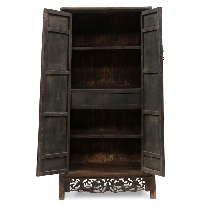 Shanxi Tapered Armoire with Carved Apron