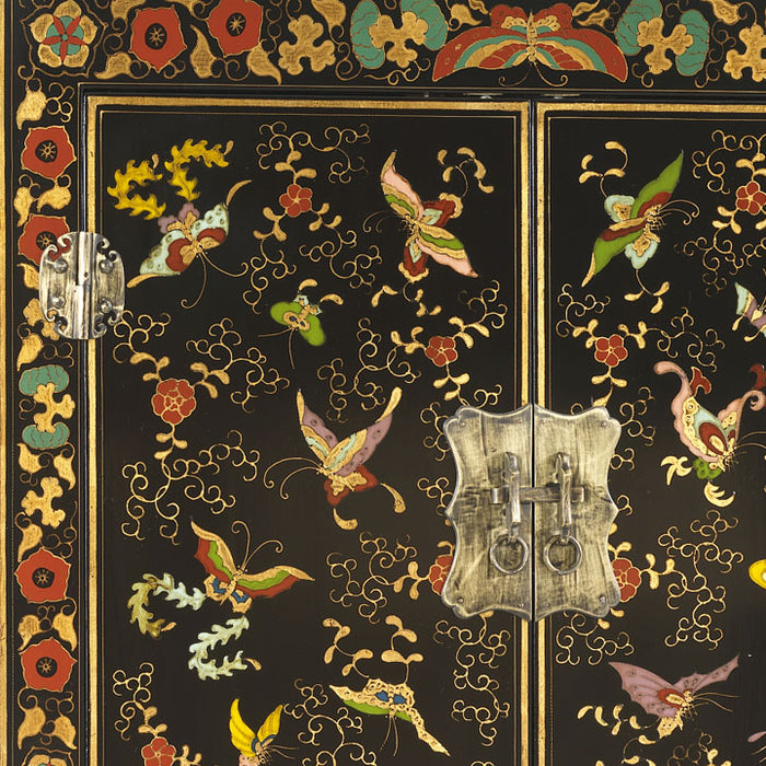 Shanxi Butterfly Cabinet, Black Lacquer