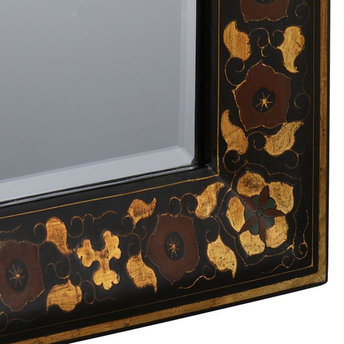 Shanxi Painted Mirror, Black Lacquer