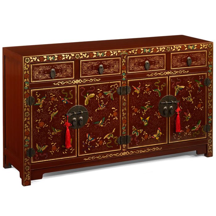 Shanxi Butterfly Sideboard, Red Lacquer
