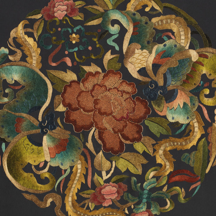 Silk Embroidery - 'Lotus on Gold and Teal'