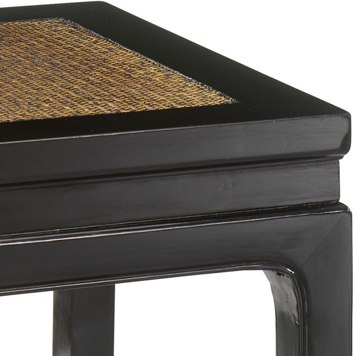 Square Stool, Black Lacquer