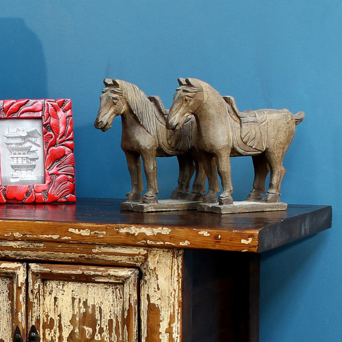Pair of Rustic Carved Horses