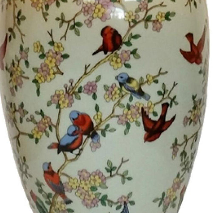 Birds and Blossom Tall Vase Lamp