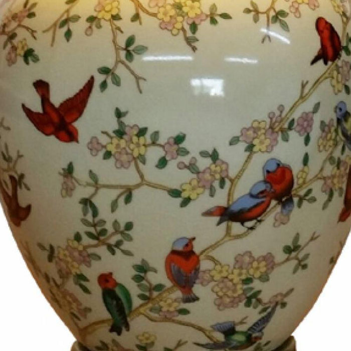 Birds and Blossom Round Vase Lamp
