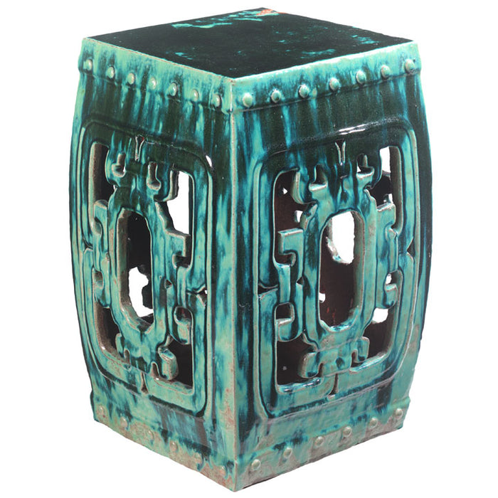 Square Teal Ceramic Stool