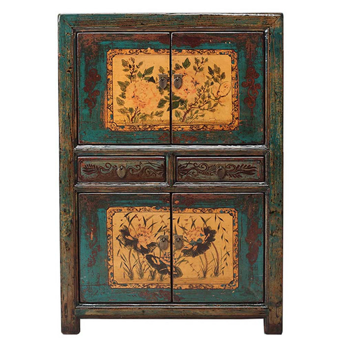 Teal Lacquer Double Cabinet