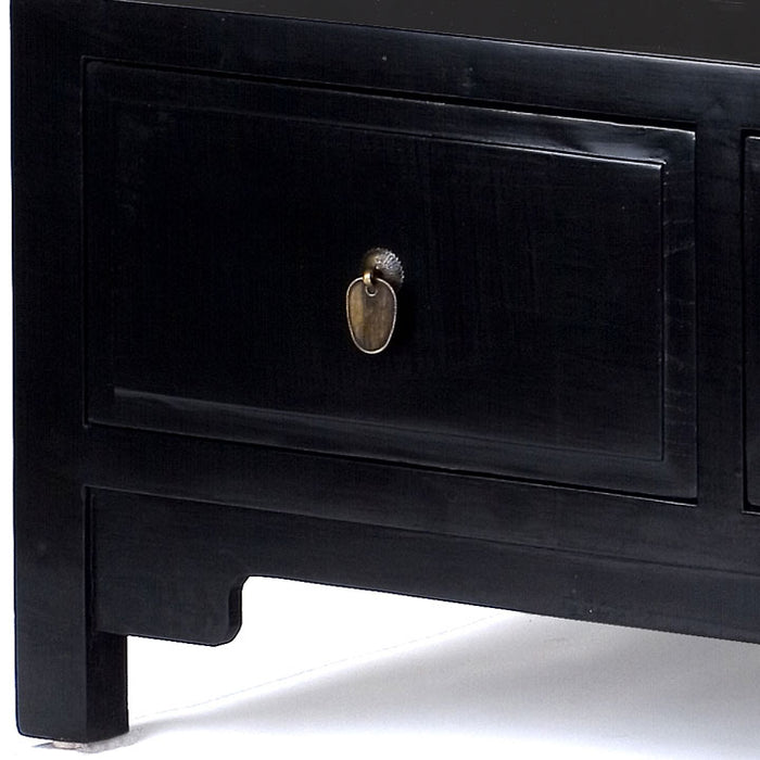 Three Drawer Kang Table, Black Lacquer