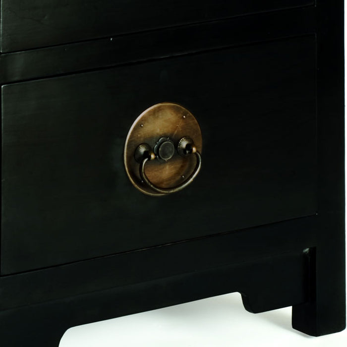 Ming Two Drawer Chest, Black Lacquer