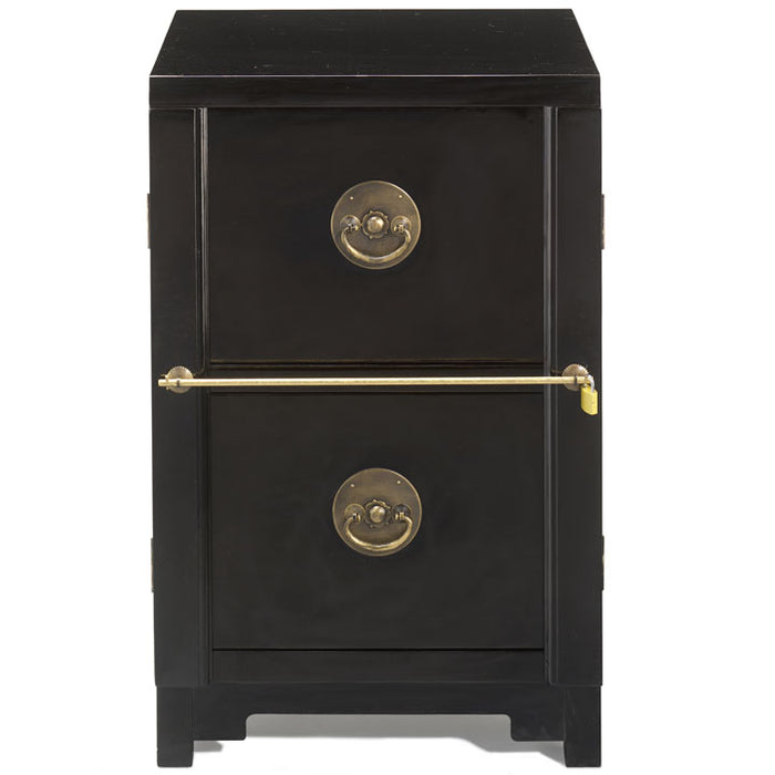 Two Drawer Filing Cabinet, Black Lacquer