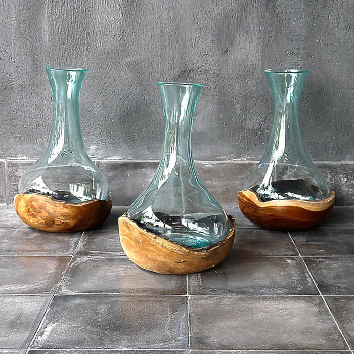 Handblown Vase in Teak Bowl