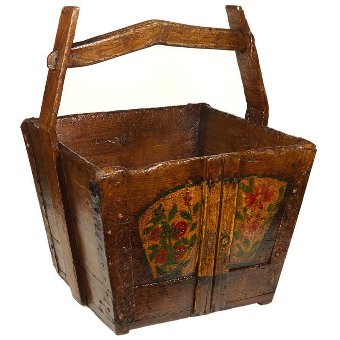 Chinese Vintage Wooden Painted Water Bucket