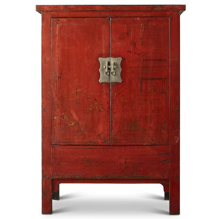Chinese Antique Red Shanxi Wedding Cabinet