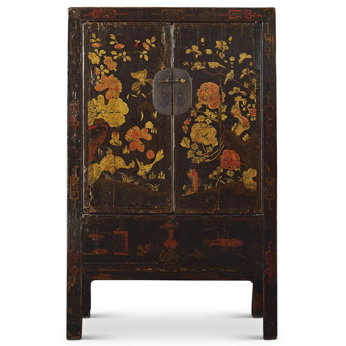 Chinese antique black painted wedding cabinet