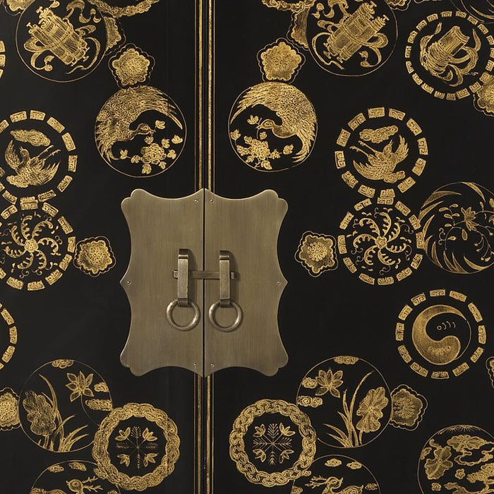 Gold Decorated Wedding Cabinet, Black Lacquer