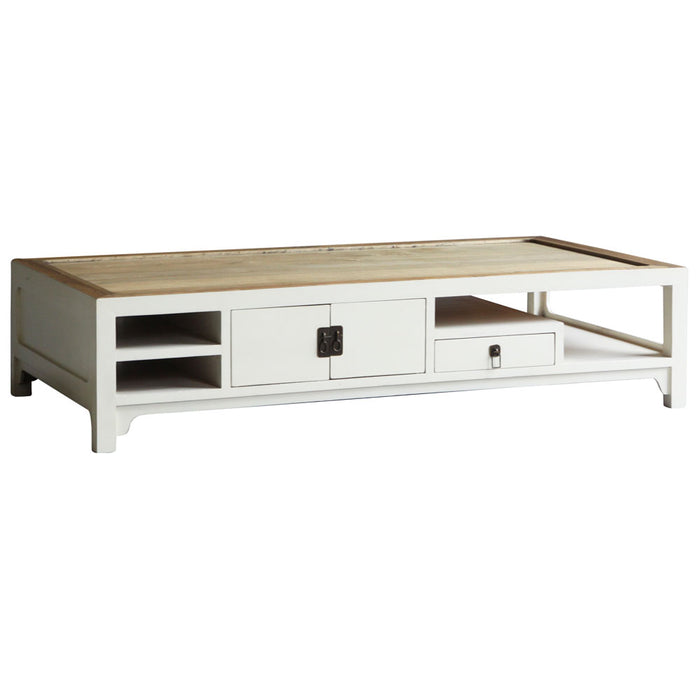 Natural Top White Lacquer Coffee Table