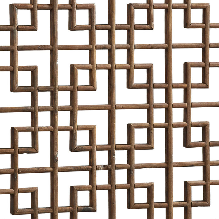 Pair of Geometric Carved Window Panels