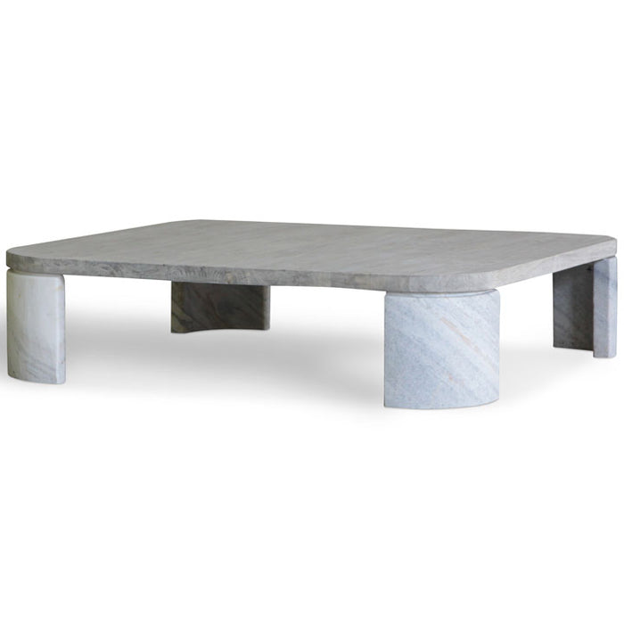 Rustic Coffee Table with Marble Legs