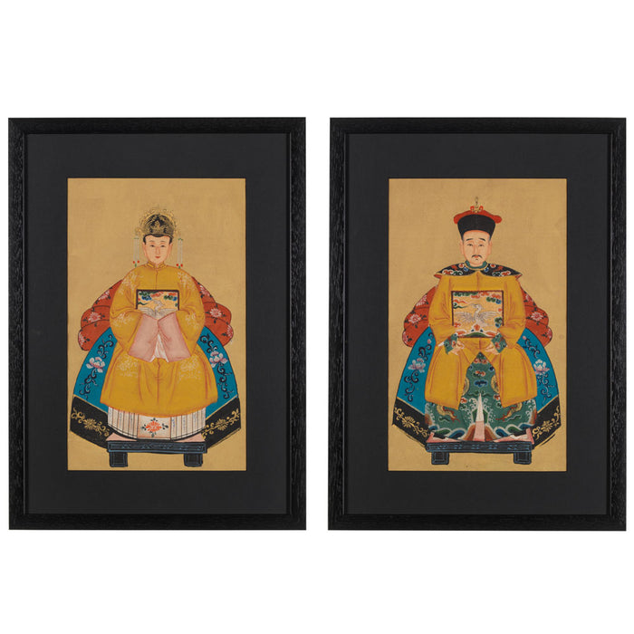 Pair of Small Chinese Ancestor Paintings in Yellow