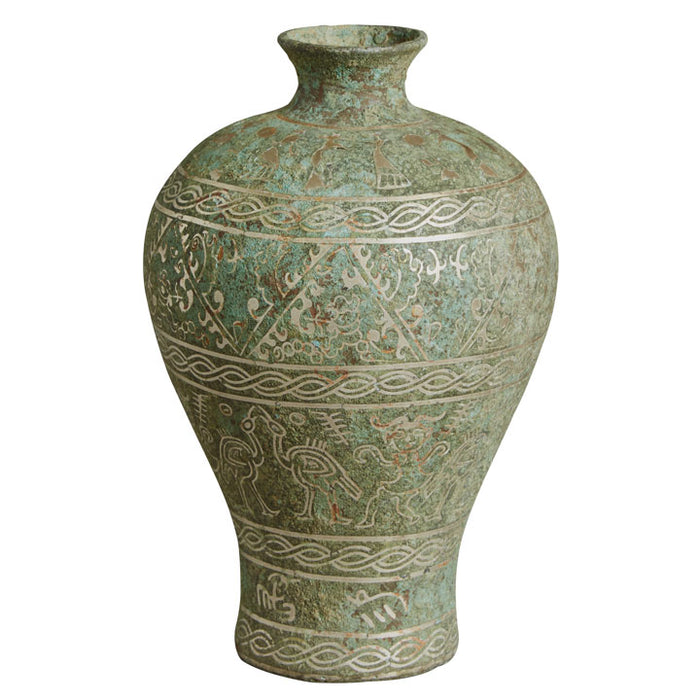 Bronze Vase with Silver Inlay