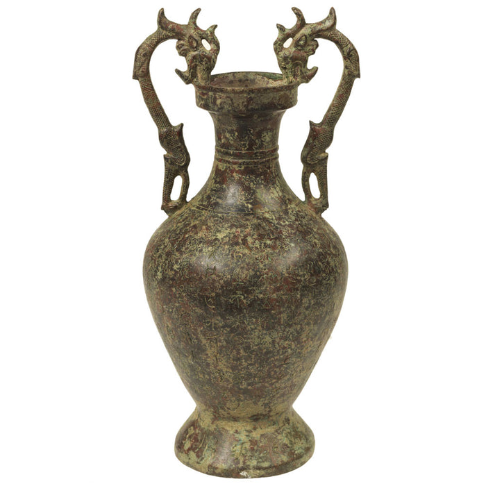 Chinese Bronze Vase, Dragon Handles