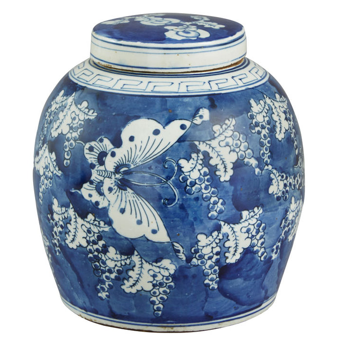 Ginger Jar, Blue and White, Butterfly