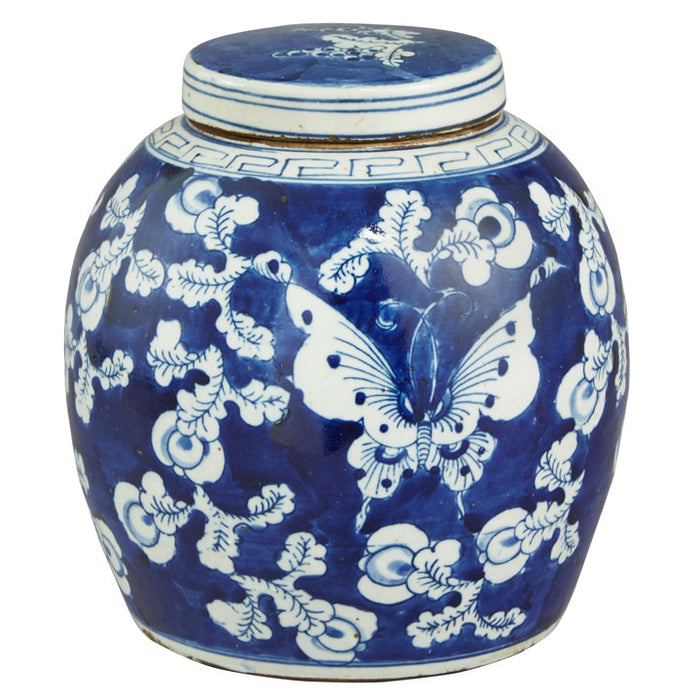 Ginger Jar, Blue and White with Butterfly