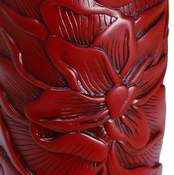 Peony Red Resin Tall Vase