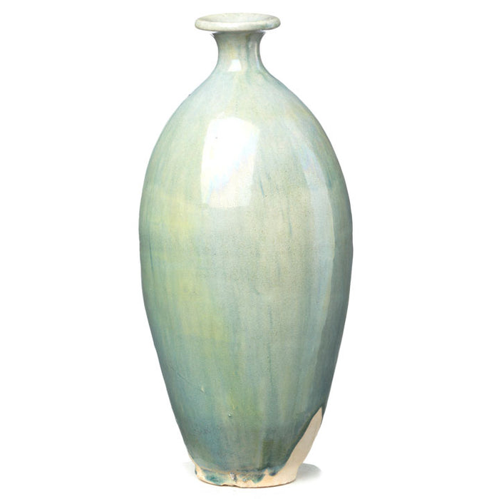 Pale Blue Ceramic Oval Vase