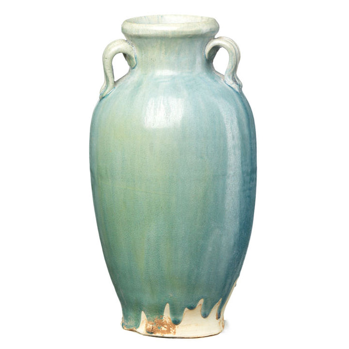 Pale Blue Ceramic Oval Vase with Handles