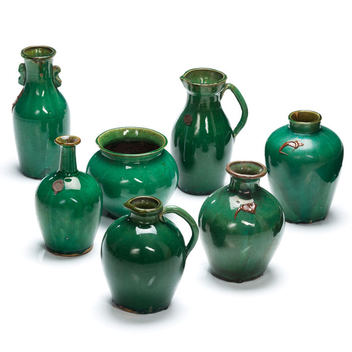 Green Ceramic Slim Neck Vase