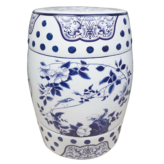 Blue and White Ceramic Stool with Rambling Rose
