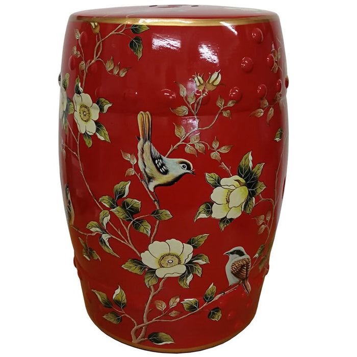Red Ceramic Stool with Chaffinches