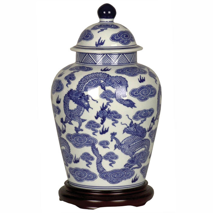Blue and White Dragon Storage Jar
